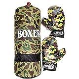Lg-Imports - Juego de saco de boxeo para niños, 43 cm, 700 g, guantes de boxeo, guantes de boxeo, camuflaje