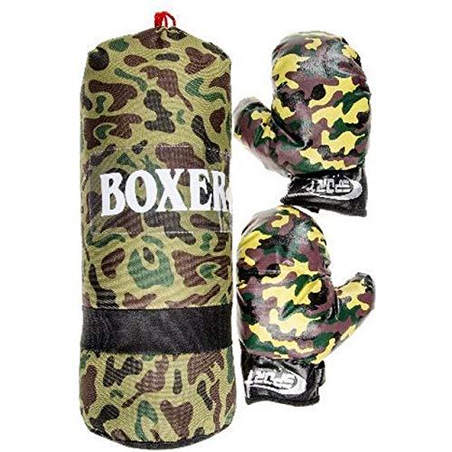 Lg-Imports Juego de boxeo para niños, saco de boxeo de 43 cm, 700 g, guantes de boxeo, guantes de boxeo, diseño de camuflaje militar