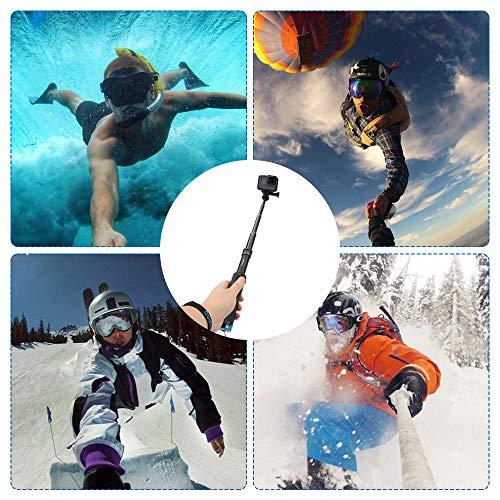 AFAITH Wasserdichte Selfie Stick Stativ Verlängerung Aluminiumlegierung Handgriff Teleskop Handheld Selfie-Stangen für GoPro Hero 9 Black Hero 8 Hero7/6/5 Black