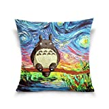 ATZUCL Pillowcase Cover 16x16 in Totoro Van Gogh Night Throw Pillow Cover Soft Cotton Cushion Cases for Sofa Couch Bedroom Decoration Two Side Printed Pillow Case Cover
