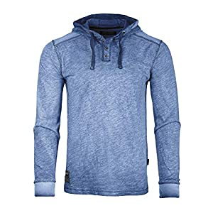 Men's Long Sleeve Vintage Garment Color Wash Lightweight Pullover Hoodie