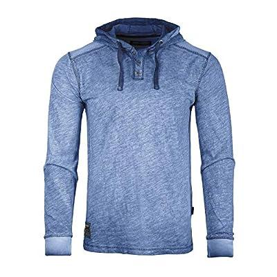 Men's Long Sleeve Vintage Garment Color Wash Lightweight Pullover Hoodie