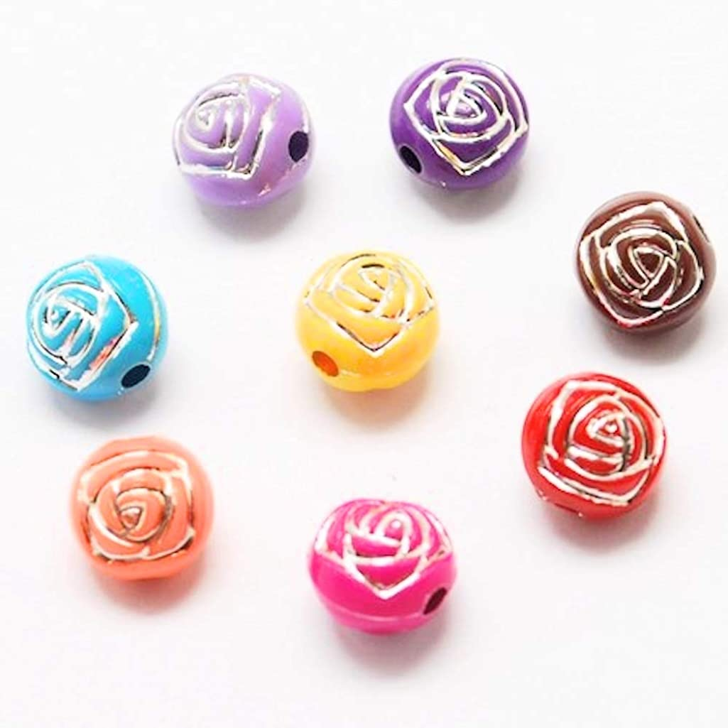 Amz Beads - Package of 200 Beads! Acrylic Multi-Colored Loose Round Flower Beads 8mm
