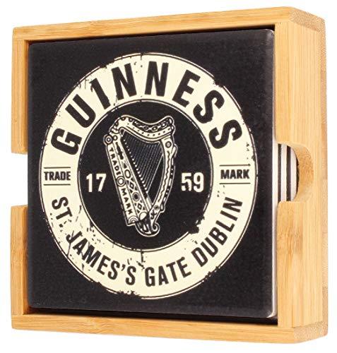 Guinness - Sottobicchieri in ceramica, confezione da 4 pezzi, motivo: bottiglia