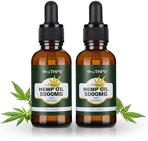 2 Pack Hemp Oil for Pain Anxiety & Stress Relief - 5000 MG - Premium Organic Hemp Extract - 100% Natural Hemp Oil Drops, Helps with Better Sleep, Skin & Hair