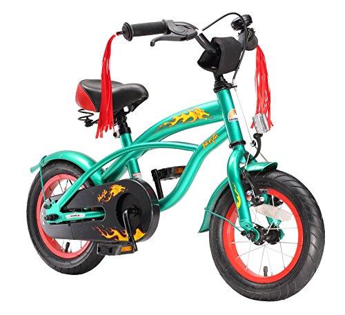 """BIKESTAR Bicicletta Bambini 3-5 Anni Bici Bambino Bambina 12 Pollici Freno a Pattino e Freno a retropedale 12"""" Cruiser Edition Verde"""