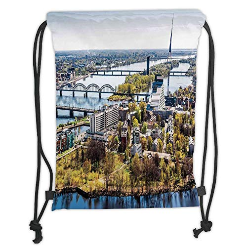 Fevthmii Drawstring Backpacks Bags,Cityscape,Aerial View of Riga City European Cultural Urban Mod Print Horizon with Old Tower Decorative,Multi Soft Satin,5 Liter Capacity,Adjustable String 🔥
