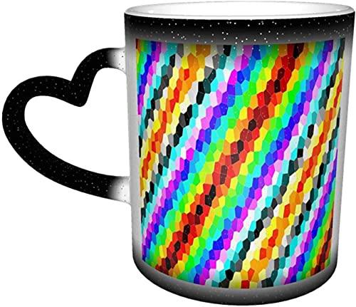 Lunares blancos Taza que cambia de color azul marino en el cielo Tazas de cerámica sensibles al calor Taza de decoloración Tazas de café con agua Arte divertido y mágico Regalos pe