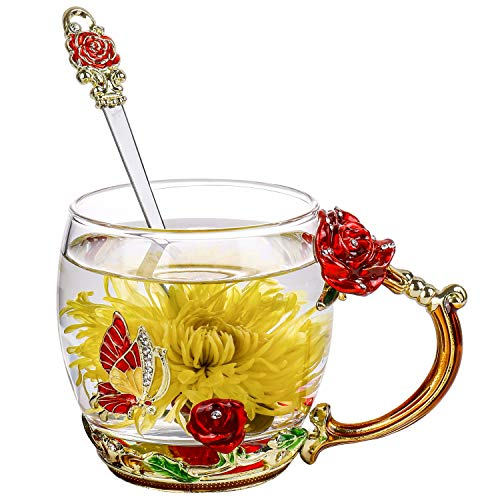 ONEPENG Flower Tea Cups with Spoon,Glass Coffee Mugs,Enamel Handmade Unique Butterfly Rose,Tea Mugs for Women,Gifts Ideas for Women(Rose-Red-Short)