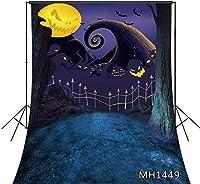新しいハロウィーンの悪夢の背景5x7ftファブリック不気味な幽霊悪の月ブラックバットホラーのための写真の背景ハロウィーンの夜のパーティーの写真撮影写真ブースの背景の小道具洗える