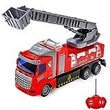 Voitures télécommandées, Voiture télécommandée - Camion de Pompiers télécommandé avec Camion de Pompiers à échelle Extensible avec lumières pour garçons, Filles, Enfants de 3 Ans et Plus