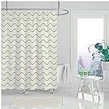 XCBN Einfacher Duschvorhang brauner Duschvorhang mit geometrischem Aufdruck, wasserdicht & schimmelfest im Badezimmer Duschvorhang A16 150x180cm