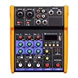 Yebobo Professional 4 Channel Audio USB Mixer Console Sound Card,USB Powered and Output, for Karaoke Music Production