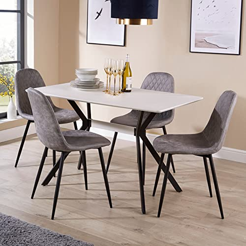 Home Source White Dining Kitchen Table Set with Grey Quilted Fabric Chairs Black Metal Leg, Wood, 4