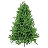 Árbol de Navidad artificial DeLuxe de 180 cm, 1,8 m de alta calidad, tipo abeto de lujo de Nordmann / del Cáucaso/boreal, puntas y hojas de pino moldeadas por inyección perfecta de polietileno, sistema de apertura plegable, en color verde, incl. soporte de metal, poco inflamable, sin adornos, sin luces de Navidad
