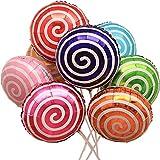 DIWULI, 10 Stück Candy Luftballons, buntes Ballon-Set Deko, Folien-Ballons Lollipop süß, Geburtstagsballons Süßigkeiten, Folienluftballon, Kinder-Geburtstag Junge Mädchen, Motto-Party, Dekoration