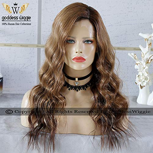 Goddess Wiggie Grade Human Hair 150 Density Ombre Color Glueless Human Hair Lace Front Wigs With Baby Hair For Black Woman (20inch lace front wig)