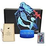 TriPro Mermaid 3D Illusion LED Room Table Decor Lamp Sea-Maid Night Light with 16 Colors Change,Touch&Remote Bedroom Decorations Toys Gifts for Girls,Men,Women, Kids, Boys,Teens 4