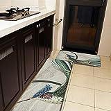 Juego de 2 alfombras de cocina y esterilla, color crema y verde, diseño abstracto de colibrí, antideslizante, suave, absorbente, para cocina, suelo, baño, fregadero, lavandería, oficina