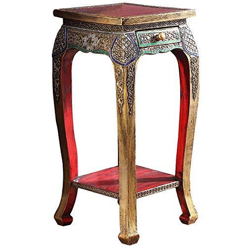 Inicio Equipo Mesa de centro Mesa auxiliar tallada tailandesa Calcomanía hecha a mano Mesa de té de madera maciza Sofá Esquina Mesa de centro de vidrio templado ovalado sureste (Color: Marrón Tamañ