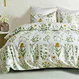 Floral Duvet Cover Queen Size - 3 Piece Botanical Farmhouse Pattern / Flowers and Leaves Printed Microfiber Comforter Cover Set - Soft and Lightweight Quilt Cover, Yellow and Green