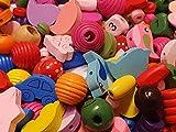 Perlin 50g HOLZPERLEN Set Kinder SCHNULLERKETTEN BASTELN SPEICHELFEST Bunte Mischung Mix H125