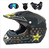 NGB Adulto Sceptre Casco Moto & Wulf Adulti Motocross Occhiali & Guanti & Maschera,Black,M