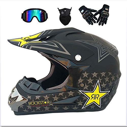 GNB Adult Motocross Helmet MX Motorcycle Off-Road Scooter ATV Helmet D.O.T AM Mountainbike Full face Helm with Goggles/Windproof Mask/Gloves-7 Style,matteblackstar,L