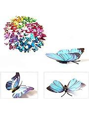 3D-Vlinders, 72 stuks, muurstickers, wanddecoratie voor woning, met plakpunten en magneet, 12 x blauw + 12 x kleur + 12 x groen + 12 x geel + 12 x roze + 12 x rood