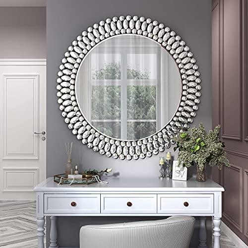 MUAUSU Decorative Wall Mirror - Large Round Ornate Accent...