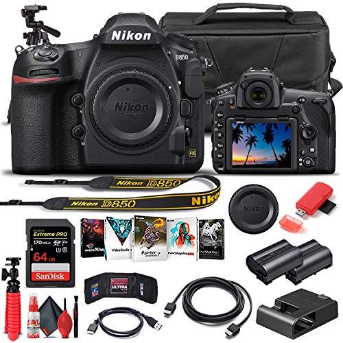 Nikon D850 DSLR Camera (Body Only) (1585) + 64GB Memory Card + Case + Corel Photo Software + EN-EL 15 Battery + HDMI Cable + Cleaning Set + Flex Tripod + More (International Model) (Renewed)
