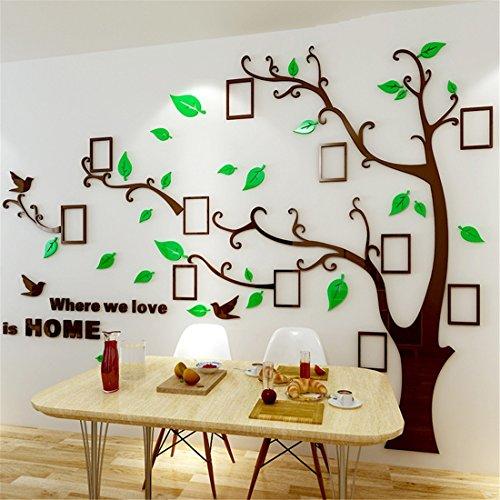 Árbol Pegatinas de Pared - 3D Árbol Familia Marco de Fotos DIY Murales Stickers Decoración para Salón, Dormitorio, Oficina, Habitación(Verde Izquierda,L:175*230CM)