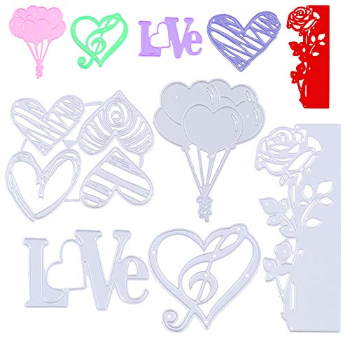 FADACAI Plantillas de troquelado en forma de corazón para scrapbooking, de metal, para Navidad, vacaciones, para manualidades, tarjetas de dibujo, corazón, amor, globo.