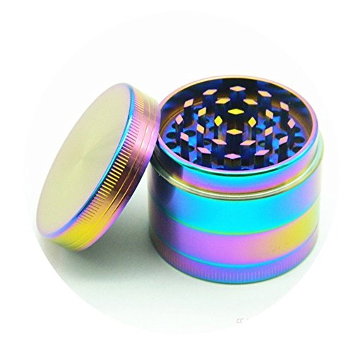 Moore Colourful 4 Pieces Metal Zinc alloy Tobacco Grinder Spice Grinder Herb Grinder-Rainbow Metal (40mm-Diameter) (40mm/1.5inch)