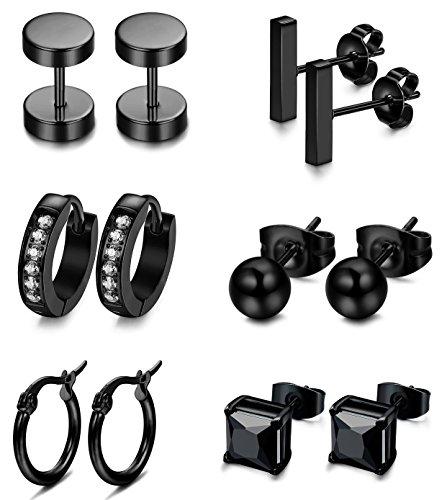 FIBO STEEL 6 Pairs Stainless Steel Black CZ Stud Earrings for Men Women Huggie Hoop Earring Ear Piercing Set