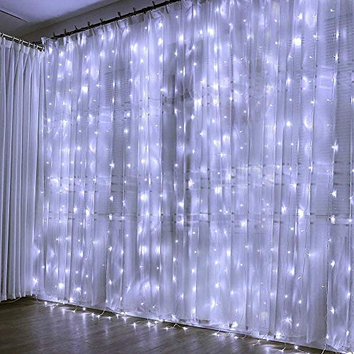 300 LED Cortina de Luces, Luces Led Decorativas. 8 Modos de Luz, Dormitorio Cadena de Luces LED Decoración de Casa, Fiestas, Bodas, Jardin, Decoración Navideña