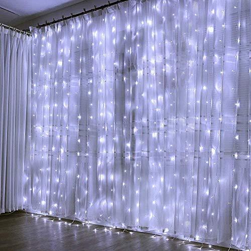 Creashine Tenda Luminosa Natale Catene Luminose Luci LED Tende con 8 Modalità di Illuminazione per Esterno/Interno, Addobbi Natalizi per la Casa,Camera da Letto,Giardino(Bianco freddo)