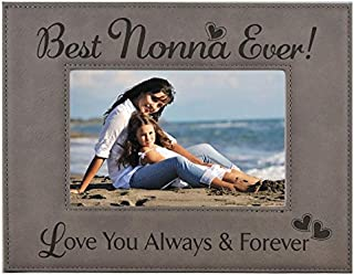 GIFT NONNA PICTURE FRAME ~ Engraved Leatherette Frame ~ Best Nonna Ever - Love You Always & Forever - Mother's Day Nonna Birthday Gift Nonna Christmas Grandma Granddaughter Son (4x6, Gray)