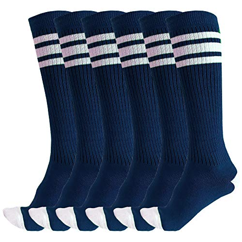 3 Pairs of juDanzy Knee High Boys or Girls Triple Stripe Tube Socks for Soccer, Basketball, Uniform and Everyday Wear (6-10 Years (Shoe Size 1-4), Navy with White Stripes (3 Pairs))