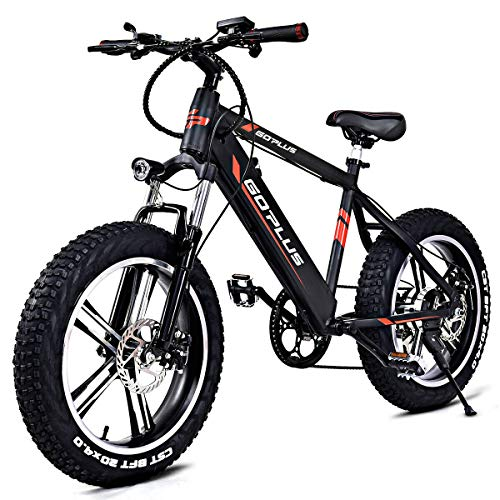 Goplus 20' Electric Mountain Bike Bicycle E-Bike Fat Tire 17MPH Max Speed with Removable 48V 350W Lithium Battery, Charger and Shimano Speed Shifter