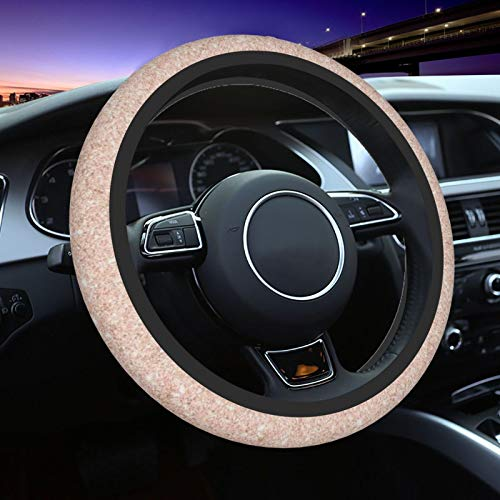 Rose Gold Faux Glitter Steering Wheel Cover for Women Men, Universal 15 Inch Anti Slip and Sweat Absorption Auto Car Wrap Cover, Fit Suvs, Vans, Sedans, Cars, Trucks