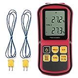Grandbeing® tragbarDigital-Thermometer Dual Channel Temperaturmessgerät für K/J/T/E/R/N Thermoelement mit LCD-Hintergrundbeleuchtung Thermoelement -