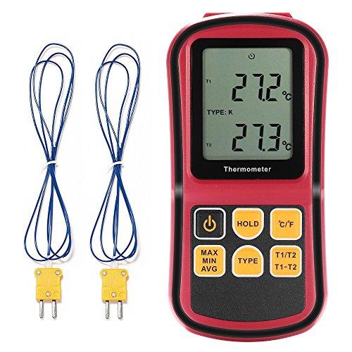 Grandbeing® tragbarDigital-Thermometer Dual Channel Temperaturmessgerät für K/J/T/E/R/N Thermoelement mit LCD-Hintergrundbeleuchtung Thermoelement