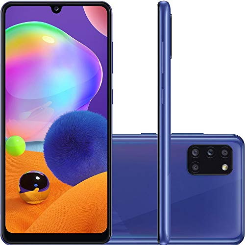 Samsung Galaxy A31 Azul, Tela de 6,4, 4G, 128GB e Camera de 48MP + 8MP + 5MP + 5MP - SM-A315GZBKZTO