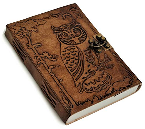 Owl Leather Writing Journal - Special Owl Cover Page with Unique Lock - Writing Notebook Sketchbook Unlined Notepad Daily Planner Dairy To Write in for Poetry Writers Authors Travelers - Ideal Gift