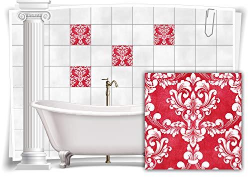 Medianlux Fliesen-Aufkleber Fliesen-Bilder Damast Barock Nostalgie Retro Floral Rot Bad WC Deko Folie Badezimmer Dekoration, 12 Stück, 15x15cm m20-rot-108274