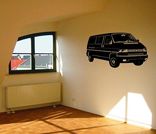 Wandtattoo: VW T4 Bus // Farben- und Größenwahl (Schwarz - 1060 mm x 600 mm)