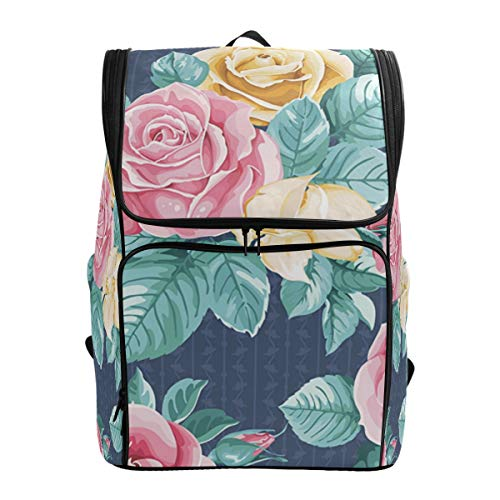 Jeansame - Mochila escolar para portátil, diseño de rosas y flores pastorales