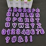 Moonlight Star 40pcs / juego de caracteres púrpura Número de letra del alfabeto Conjunto cortador de la galleta torta de la pasta de la galleta hornada del molde de herramientas de bricolaje de azúcar