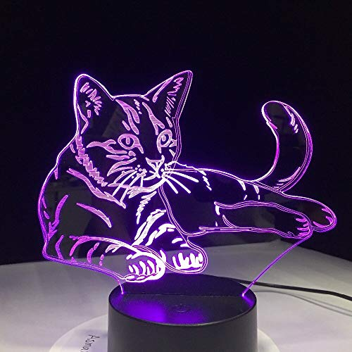 Mascota gato lindo gato luz de noche 3D luz animal interruptor táctil interfaz USB LED diapositiva 3D como regalo de decoración para la habitación de los niños